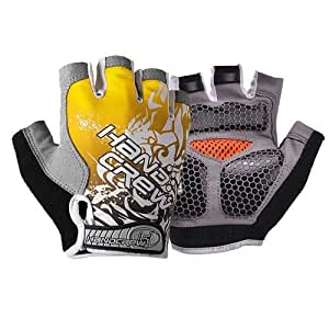 Generic High quality New Yellow Fashion Shockproof Sports Glove para Bicycle Half Finger Glove M Size