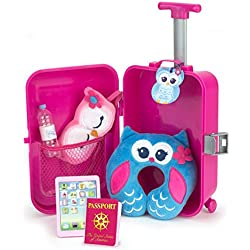 Doll Travel Play Set by Sophia's 7 Piece Doll Accessory Luggage Set for your Favorite American Doll, Complete Doll Suitcase Travel Accessory Set