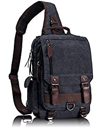 Leaper Canvas One Strap Sling Cross Body Messenger Bag Shoulder Backpack Rucksack Medium Black