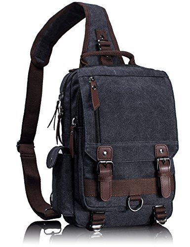 Leaper Canvas Messenger Bag Sling Bag Cross Body Bag Shoulder Bag Black, M