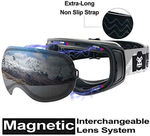 MONKEY FOREST Ski Goggles with Magnetic & Clip Locking System, Interchangeable Lens Anti-Slip Strap Snowboard Goggles for Men Women