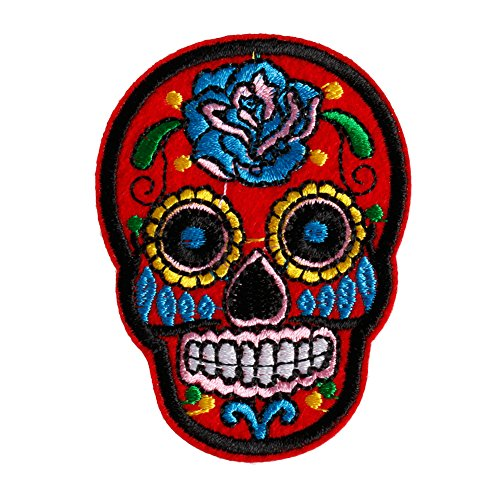 [Hunulu Sugar Skull Flower Iron On Applique Embroidered Patch DIY Sewing Patch Sticker (Red)] (Sugar Skull Costume Tumblr)