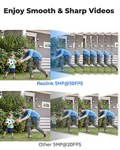 REOLINK 5MP(2560x1920@30FPS) PoE Camera Outdoor/Indoor IP Security Video Surveillance, IP66 Waterproof, IR Night Vision, Motion Detection, Work with Smart Home, Up to 128GB Micro SD Card, RLC-410-5MP