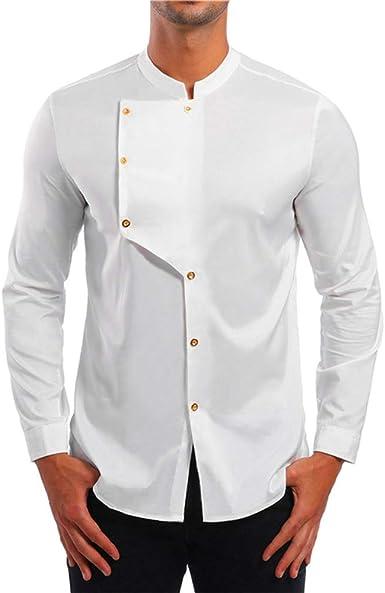 Camisa de Manga Larga para Hombres de Estilo nepalés Botones de ...