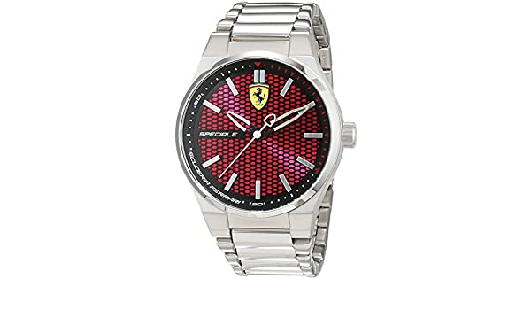 Amazon.com: Scuderia Ferrari Mens Speciale Stainless Steel Bracelet Red Dial 0830357: Watches