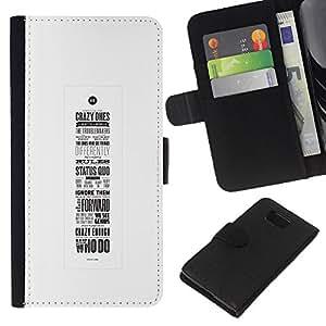 KLONGSHOP // Tirón de la caja Cartera de cuero con ranuras para tarjetas - cartel de motivación inspiradora caligrafía - Samsung ALPHA G850 //