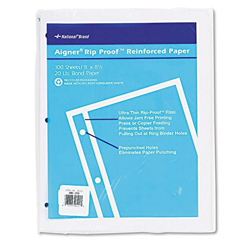 National 20121 Rip Proof 20-lb Reinforced Filler Paper Unruled 11 x 8-1/2 WE 100 Sheets/Pk by Reg