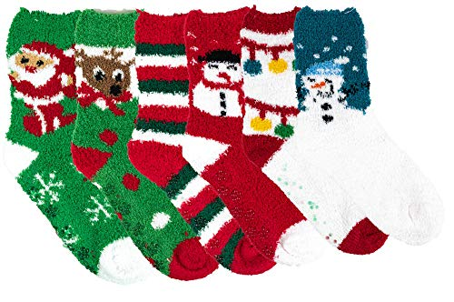 Differenttouch 6 Pairs Pack Super Soft Cozy Fuzzy Winter Slipper Socks (9-11, Christmas #1)]()
