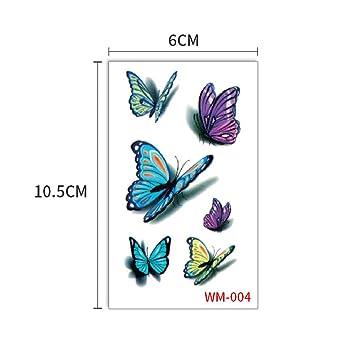 Etiqueta engomada del tatuaje de mariposa Herida negra Azul 3D ...
