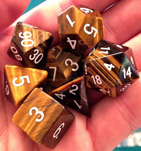 16 Mm Tiger (Tiger's Eye Gemstone Polyhedral Dice Set: Hand Carved with Quality! Full-Sized 16mm. Great for DnD RPG Dungeons and)