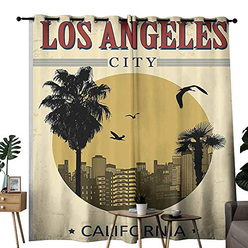 Marilec Exquisite Curtain Apartment Decor Collection Los Angeles City from California in Vintage Style Birds Vacation Journey Design Ivory Olive Red Tie Up Window Drapes Living Room W72 xL72