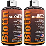 Biotin Shampoo and Conditioner Set - with Keratin & Silk Protein for Thinning Hair and Hair Loss - Fights Hair Loss, Promotes Hair Growth - Sulfate Free - for Men and Women - Made in USA - (16 oz Set)