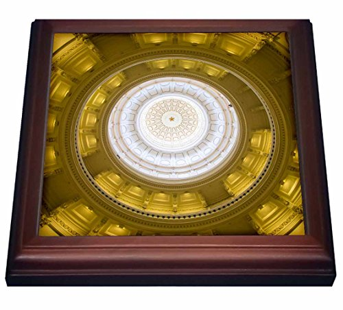 3dRose trv_205603_1 USA, Austin, Texas, Capitol Building Dome Ceiling, Interior. Trivet with Ceramic Tile, 8 by 8