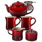 red tea kettle le creuset - Le Creuset Cherry Stoneware 5 Piece Teapot Service Set with Mugs and Cream & Sugar Set