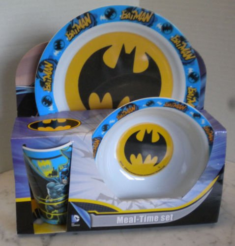 DC Comics Batman meal time set - Sturdy and Colorful! Reusable Meal Time Set. Plate, Bowl, Cup. Dinnertime Is Fun With Your Favorite DC Comics Characters