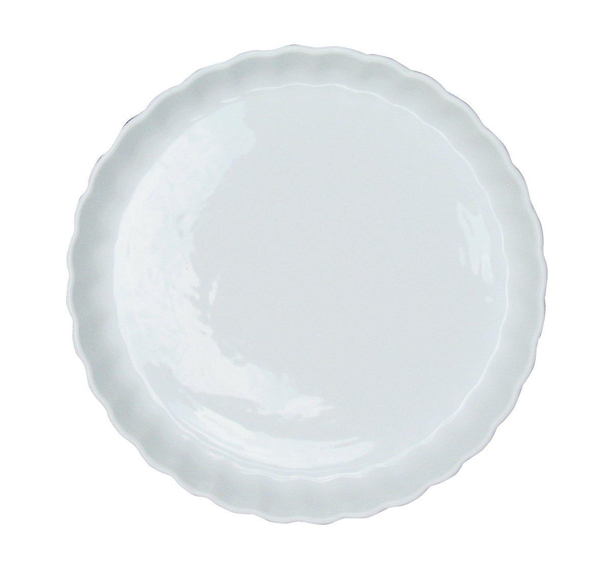 Round Fluted Ceramic Flan Dish, Pie Dish, Quiche Dish 290mm @ Chabrias Ltd