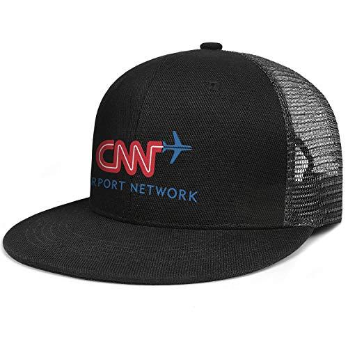 Dmamgk loang CNN-Airport-Network- Brim Hip Hop Plain Brim Snapback Hat Unisex Pure Black Mesh Cap (Tonight Show With Jimmy Fallon Air Time)