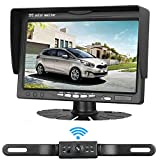 iStrong Backup Camera Wireless System for Sedans/SUVs/MinVans/Pickups  with 7'' Monitor Kit Rear View/Front View/Side View Camera 7 LED Night Vision Waterproof Guide Lines ON/OFF