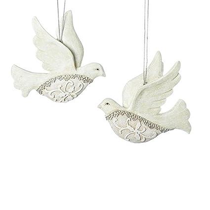 Filigree Ivory Lace Dove 4 x 3 Inch Resin Hanging Christmas Ornaments Set  of 2 - Amazon.com: Filigree Ivory Lace Dove 4 X 3 Inch Resin Hanging