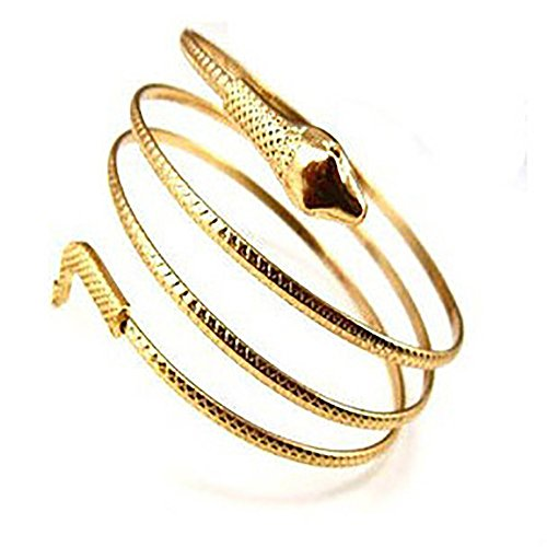 JUESJ Punk Metal Coiled Snake Spiral Upper Arm Cuff Armlet Armband Bangle Bracelet for Women Unique Jewelry ()