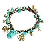 Thai Asian Fashion Art Handmade Adjustable Bracelet Wax String Turquoise Stone Elephant Brass Bell Beads Buttons Gold Wristband