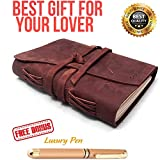 Refillable Leather Journal Writing Notebook 3 In 1 with Premium Gold Pen and Luxury Box- Handmade Travelers Notebook 240 Unlined Paper standard 7X5'' - Best Gift for Travel Diary (Brown, 7x5)