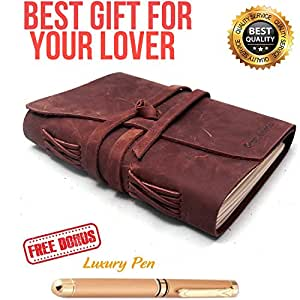 "Refillable Leather Journal Writing Notebook 3 In 1 with Premium Gold Pen and Luxury Box- Handmade Travelers Notebook 240 Unlined Paper standard 7X5"" - Best Gift for Travel Diary (Brown, 7x5)"