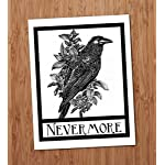 Nevermore Raven Crow Art Print Edgar Allen Poe Halloween Gothic Art Blackbird Black Bird Wall Decor Vintage 8x10 6