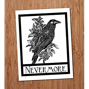 Nevermore Raven Crow Art Print Edgar Allen Poe Halloween Gothic Art Blackbird Black Bird Wall Decor Vintage 8×10
