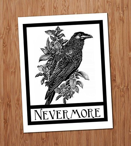 Nevermore Raven Crow Art Print Edgar Allen Poe Halloween Gothic Art Blackbird Black Bird Wall Decor Vintage 8x10 3