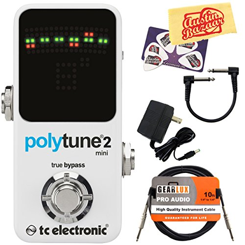 TC Electronic PolyTune 2 Mini Guitar Tuner Pedal Bundle with 9V Power Adapter, Gearlux Instrument Cable, Patch Cable, Picks, and Polishing Cloth (Tc Electronics Tuner compare prices)