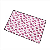duommhome Door mat Kiss Vibrant Colored Lipstick Kiss Print Smooch Abstract Hot Pink Grungy Look...