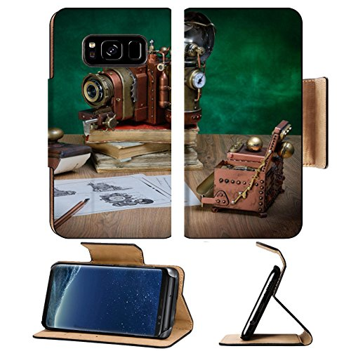 Liili Premium Samsung Galaxy S8 Plus Flip Pu Leather Wallet Case ID: 24679850 Photo camera and drawing on a wooden table Style - Steampunk Products