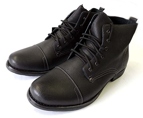 Polar Fox New Mens Ankle Boots Military Combat Style Leather Lined Shoes Lace up 537/BLACK - stylishcombatboots.com
