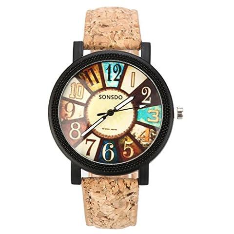 Harajuku Graffiti Pattern Leather Band Analog Quartz Vogue Wrist Watches -Best Gift for Women (C) - Braid Vintage Necklace