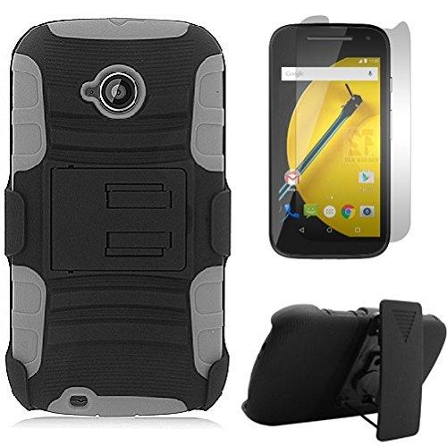(SlickGearsTM Heavy Duty Combat Armor Dual Layer Kickstand Belt Holster Case for Motorola Moto E LTE (2nd Gen 4.5
