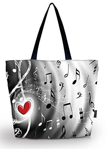 ICOLOR Music Notes Large Eco Reusable Eco-friendly Shopping