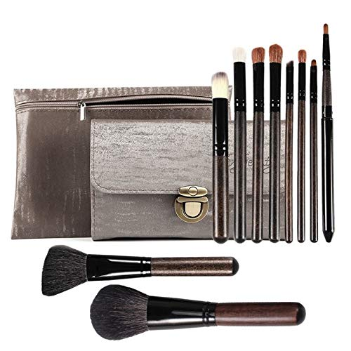 - Goat Hair Makeup Brushes 10PCS Soft Professional Makeup Brush Set Foundation Blush Eye Shadow Makeup Brushes Two PU Cosmetic Bags JYNLU
