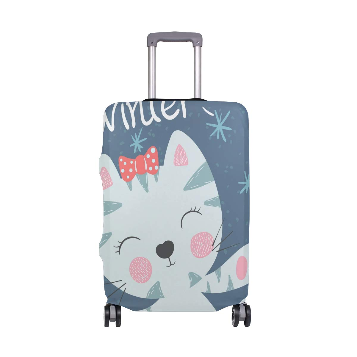 Travel Luggage Cover Cute Cartoon Animal Funny Cat Winter Elastic Suitcase Protector Washable Baggage Covers Fits 18-32 inch