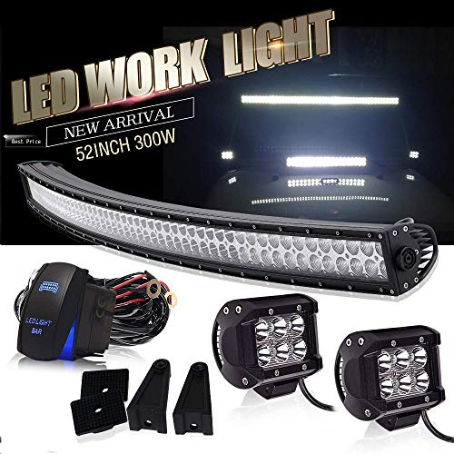 "DOT Approved 52 Inch Curved Led Light Bar Offroad Roof Upper Windshield Light + 4"" LED + Rocker Switch Wiring for Polaris Ranger RZR ATV Truck RV UTV 4X4 Chevy Boat Tractor Tacoma Ford GMC Truck Jeep"
