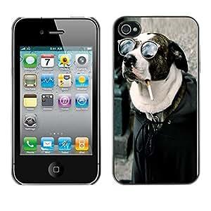 YOYO Slim PC / Aluminium Case Cover Armor Shell Portection //Cool Funny Badass Smoking Hipster Dog //Apple Iphone 4