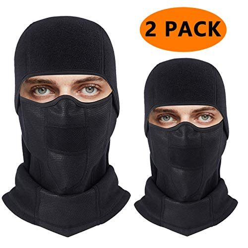Vent Half (Balaclava Ski Face Mask Windproof Winter Warm Face Cover, Ultimate Thermal Fleece Fabric with Breathable Vents for Cold Skiing Motorcycle Snowboard Cycling for Men & Women & Children (2Pack-Black))