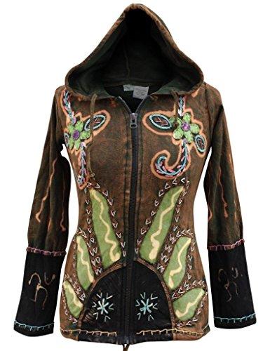 - Shopoholic Fashion Women Sun Flames Hippie Goth Hoodie Jacket(XL,Green)