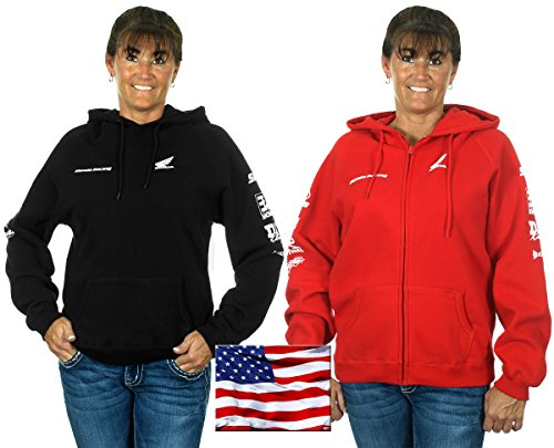 Over Logo Sweater (Honda Racing Womens Hoodies In Black & Red With Exclusive American Flag Sticker (X-Large, Black))