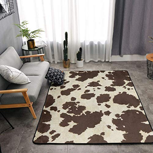 YOUNG H0ME Memory Foam Area Rug for Hotel Children Bedroom Dorm Room, Non Skid Backing Floor Pad Rugs Luxurious Throw Rugs Runner, Machine Washable, Cow Print