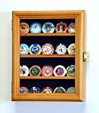 XS Casino Chip / Coin Display Case Cabinet Holders Rack w/ UV Protection, Oak