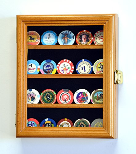XS Casino Chip / Coin Display Case Cabinet Holders Rack w/ UV Protection, Oak by sfDisplay