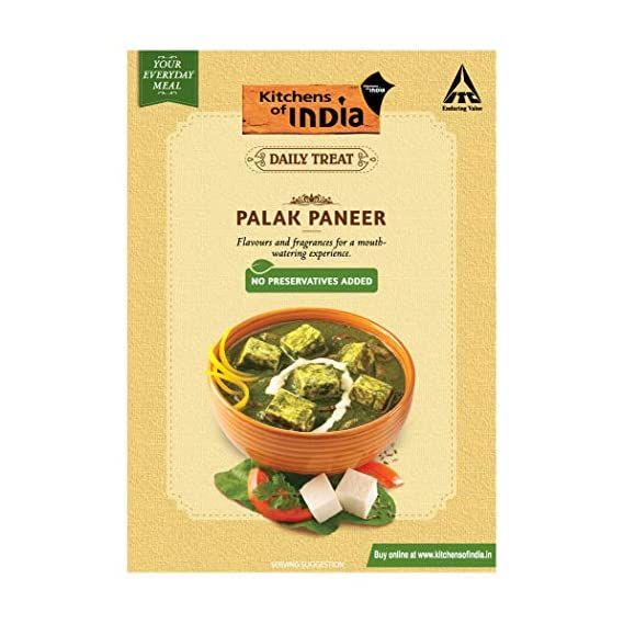 Kitchens of India Daily Treat Ready Meals - Palak Paneer, 285g