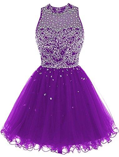 Fanciest Beaded 2016 Luxury Kleider Heimkehr Gowns Juniors Purple for Kurz Abendkleider Damen rAqrBwEx6