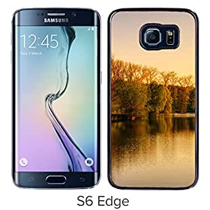 New Beautiful Custom Designed Cover Case For Samsung Galaxy S6 Edge With Park Lake Autumn Phone Case